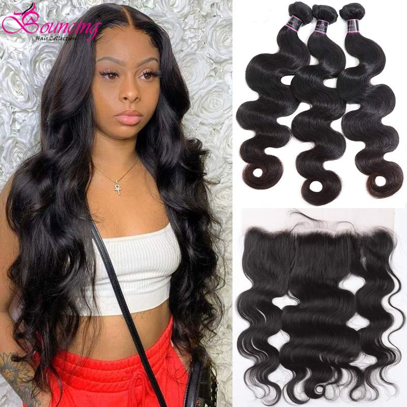 Bouncing Body Wave Bundles With Frontal Brazilian Human Hair Weave 3 Bundles With 13x4 Closure Natural Color Hair Extensions