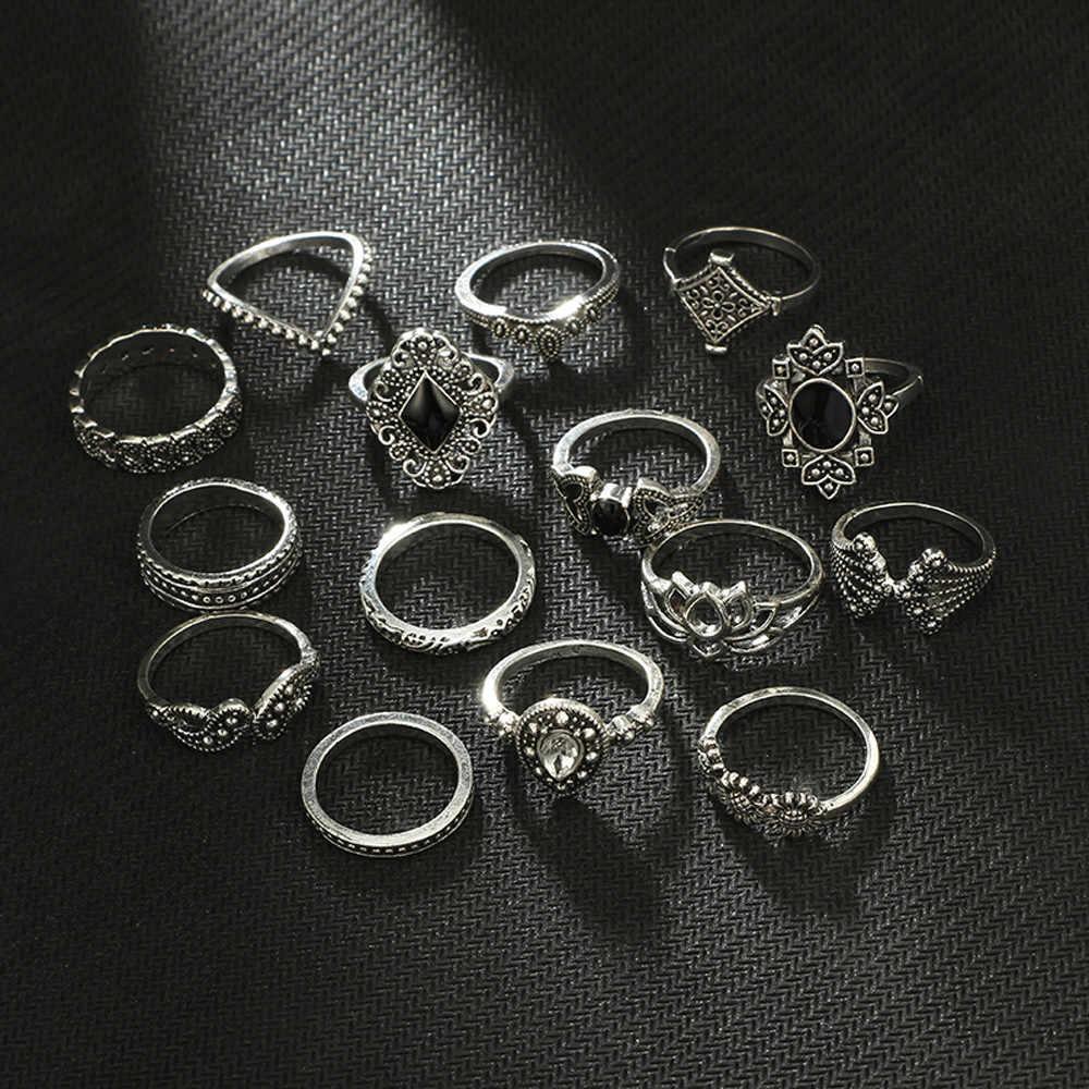 ファッションホット販売リング 15 ピース/セットのボヘミアンヴィンテージシルバースタックナックル上のブルーリングセット кольцо #40