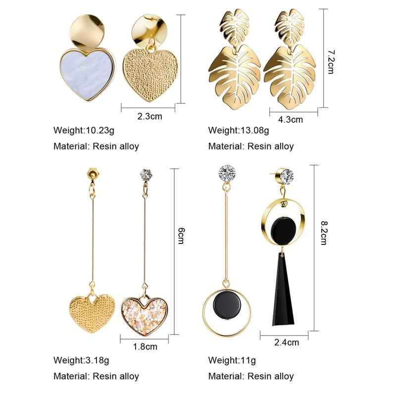 X&P New Korean Heart Statement Drop Earrings 2020 for Women Fashion Vintage Geometric Acrylic Dangle Hanging Earring Jewelry 4