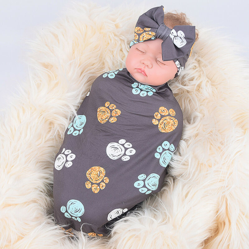 Baby Boy Girl Sleeping Bag Knotted Cap Set Newborn Cocoon Wrapped Cotton 0-3 Months Blanket Wrapped Sleeping Bags