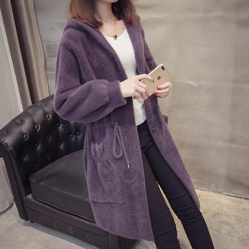 Autumn and winter 2019 new imitation water mink velvet coat female Korean version hooded loose long mink sweater coat thickening
