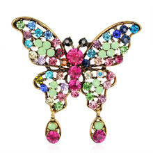 Danrun Korean retro fashion butterfly pendant brooch alloy studded brooch pin female ornaments in stock rhinestoned butterfly brooch