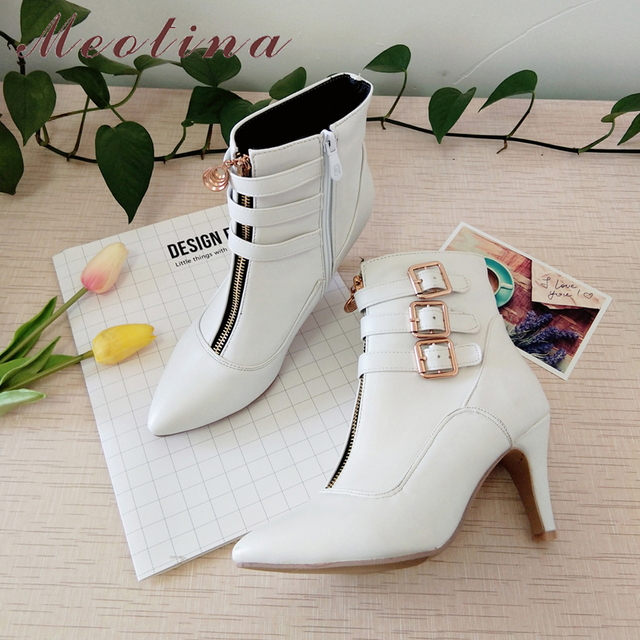 Meotina Shoes Women Boots Autumn High Heels Ankle Boots Pointed Toe Buckle Female Boots Zip Ladies Shoes White Big Size 44 45 11