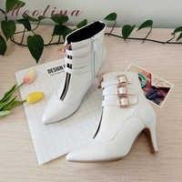 Meotina buty damskie buty jesień wysokie obcasy botki szpiczasty nosek klamra buty damskie Zip damskie buty biały duży rozmiar 44 45 11