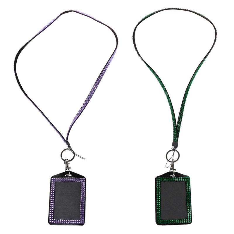 2 Pcs Rhinestone Bling Crystal Custom Lanyard Vertical ID Badge Holder - Dark Green & Light Purple