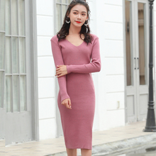 LHZSYY 2019 Autumn Winter New Womens Knitted V-Neck Dress Solid color Long section Wild Pullover Slim Bag hip Bottoming Sweater
