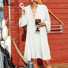 Vintage Cotton Linen Mini Dress Women Celmia Solid Flare Sleeve Sexy V-Neck Ruffle Dress Plus Size Ladies Shirt Vestido Long Top ruffle trim flare sleeve top