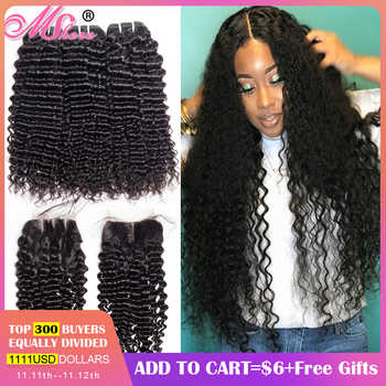 Mshere 4PCS/LOT Peruvian Deep Curly Wave 3 Bundles With Closure Non Remy Hair Free Part Lace Closure With Human Hair Bundles 1B# - DISCOUNT ITEM  55% OFF All Category