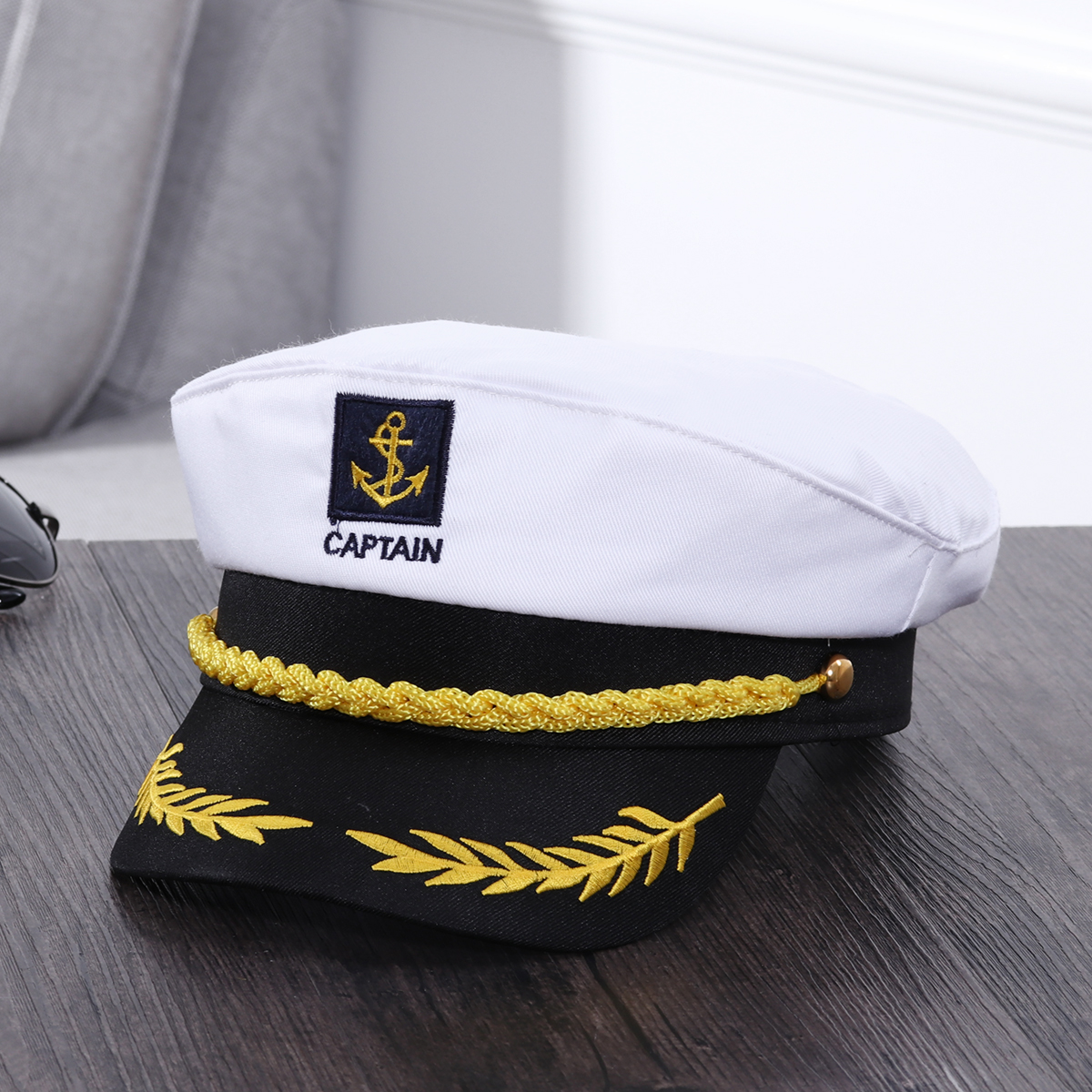 ADULT YACHT BOAT SHIP SAILOR CAPTAIN COSTUME HAT CAP NAVY MARINE ADMIRAL WHITE