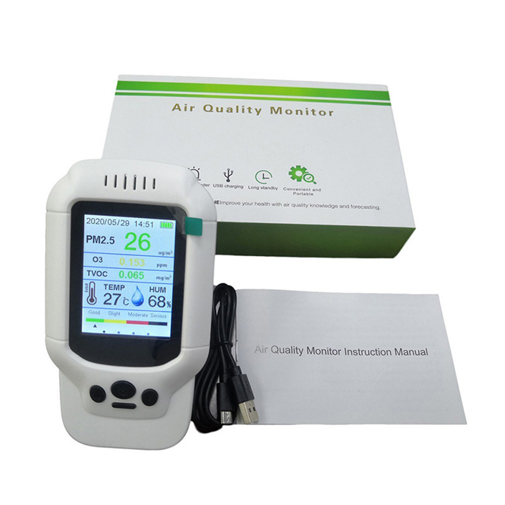 Probador Monitor de calidad del aire analizador de Gas Detector de concentración de ozono después de la desinfección Tvoc Pm Sensor de humo de polvo portátil