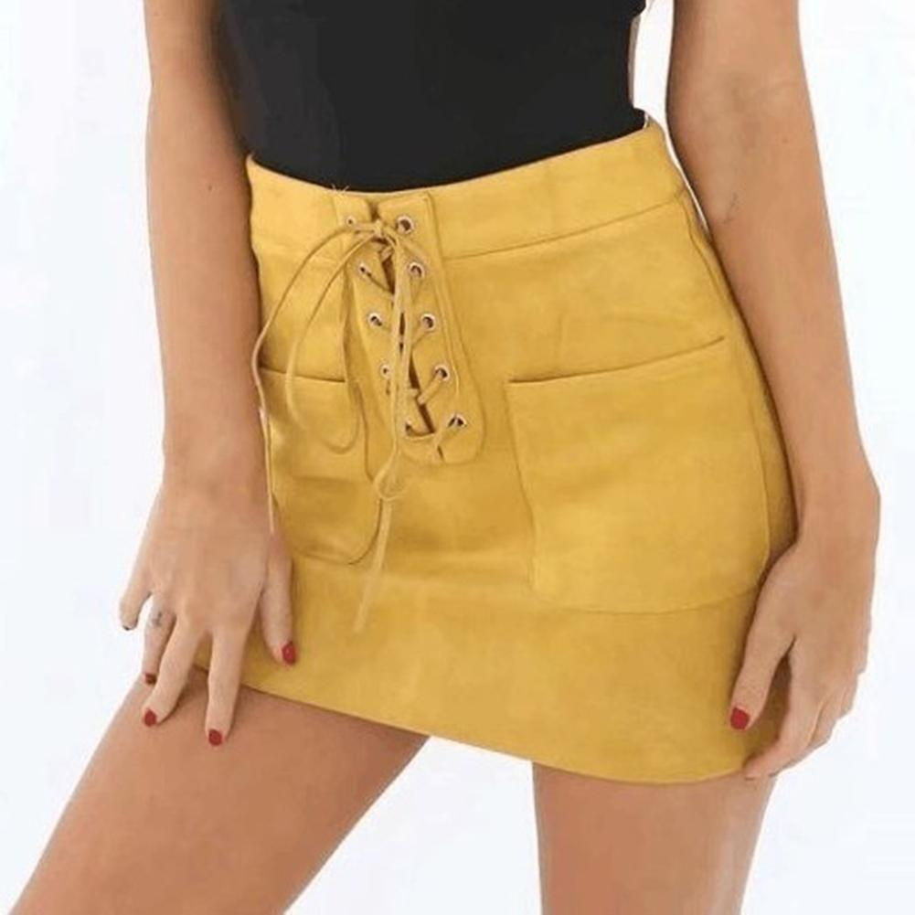 Fashion Women Solid Color Suede Leather High Waist Lace Up Bodycon Mini Skirt Hot