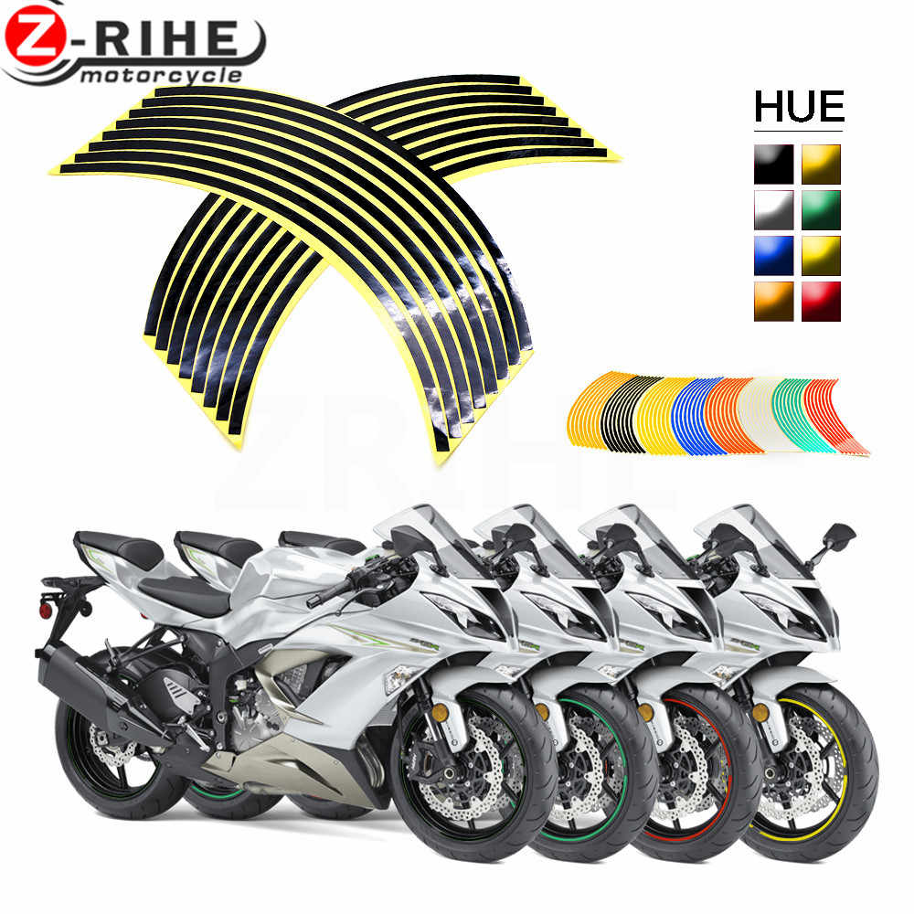 Motorcycle Wheel Sticker Motocross Reflective Decals Rim Tape Strip For YAMAHA TMAX 500 530 XP500 XP530 TM125 XMAX 300 NINJA 650