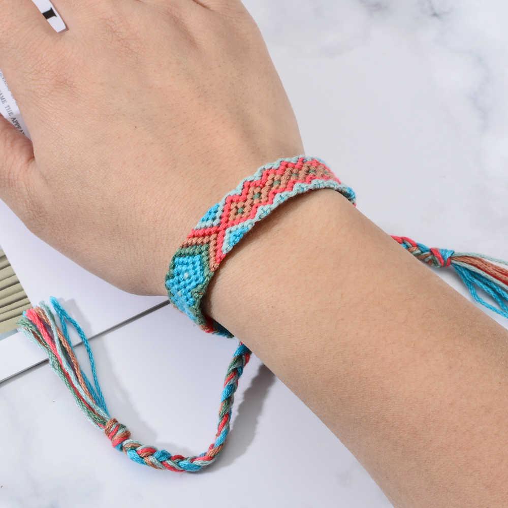 12 ピース/ロットエスニックカラフルな編組ブレスレットバングルハンドメイド織りロープワイドチェーンブレスレットのための