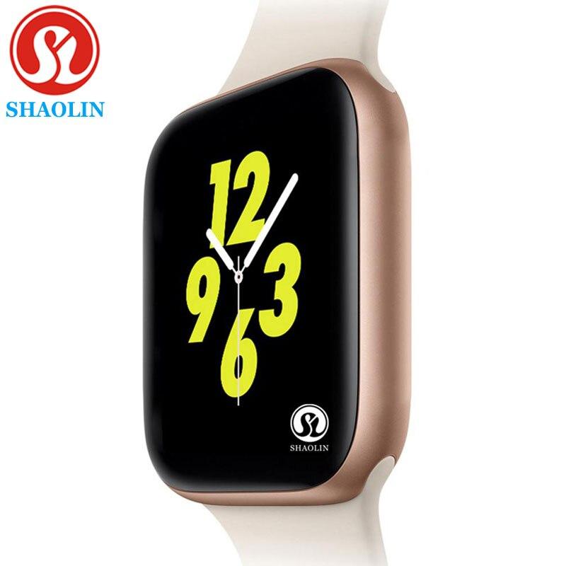 Cor do ouro Men Smartwatch para apple watch iphone 6 7 8 X Samsung Android telefone do Relógio Inteligente Apoio Whatsapp lembrete Mensagem