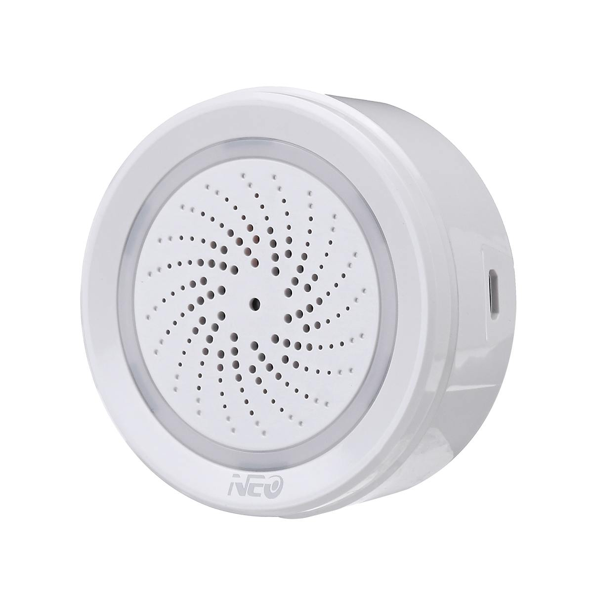 2.4GHz NEO WIFI Smart Temperature Humidity Sensor Wireless Battery Powered Sound Alarm APP Control  For Home Office Work White