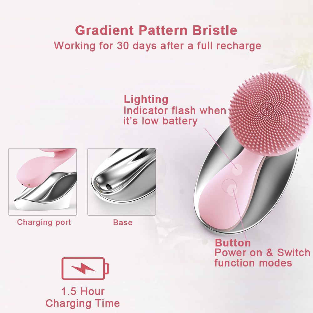 Image 5 - ANIMORE Silicone Face Cleansing Brush Rotating Magnetic Deep Cleaning Face Remove Make up Residue Rechargeable Facial Brush Face-in Powered Facial Cleansing Devices from Home Appliances