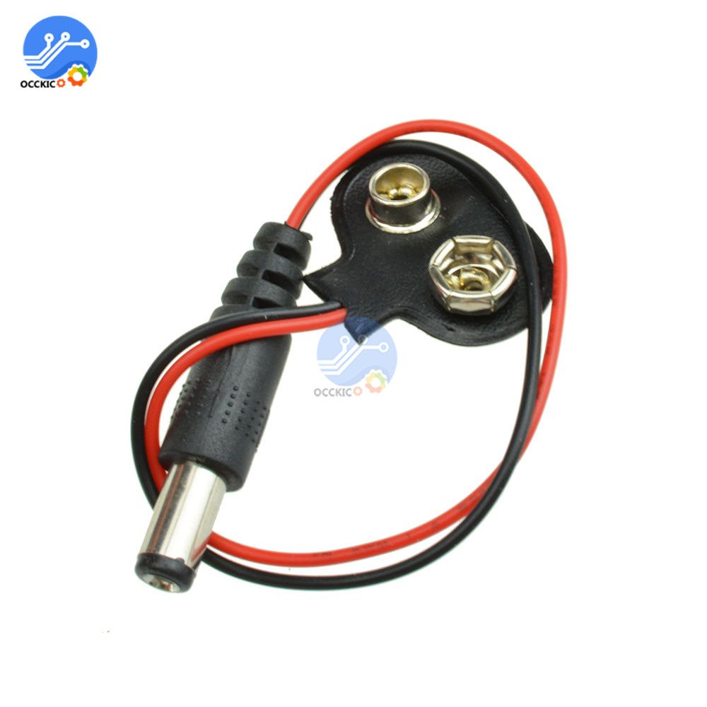 1pc Experimental 9V DC Battery Power Cable Plug Clip Barrel Jack Connector For Arduino DIY T Type