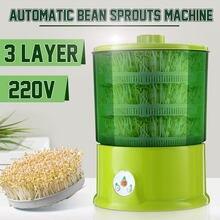 Machine de culture de haricots électrique automatique à 3 couches, 220V, appareil multifonctionnel et sain pour faire pousser des graines, à faire soi-même