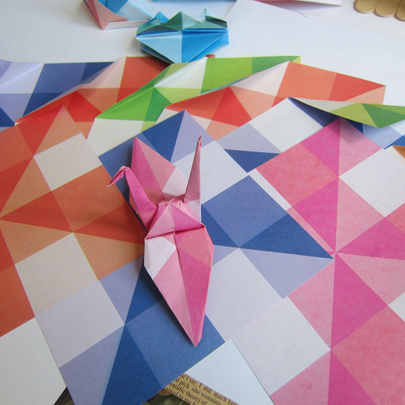 24pcs Hot DIY Kids Color Origami Handmade Toys Paper Folding Material Package Geometric Pattern Decoration