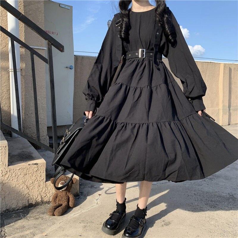 QWEEK Gothic Style Dress Women Harajuku Gothic Lolita Kawaii Dress Punk Cute Long Sleeve Black Midi Dress 2021 Emo Mall Goth