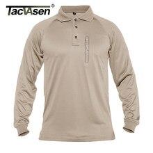 Tacvasen camisa polo de manga longa dos homens tático militar golfe polo camisas trabalho da equipe ocasional caminhadas camiseta topos zíper bolsos