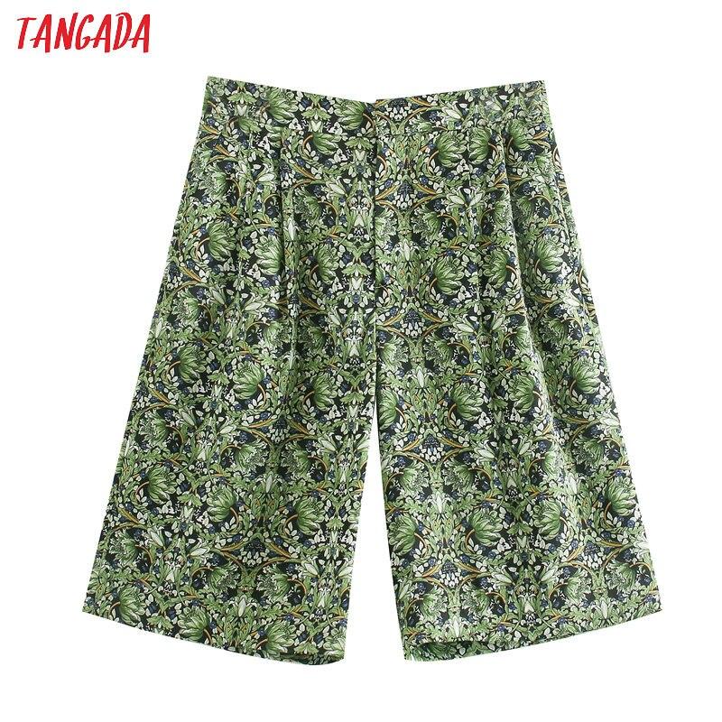 Tangada Women Print Casual Loose Shorts 2020 Summer Ladies Korea Fashion Casual Beach Shorts JE53