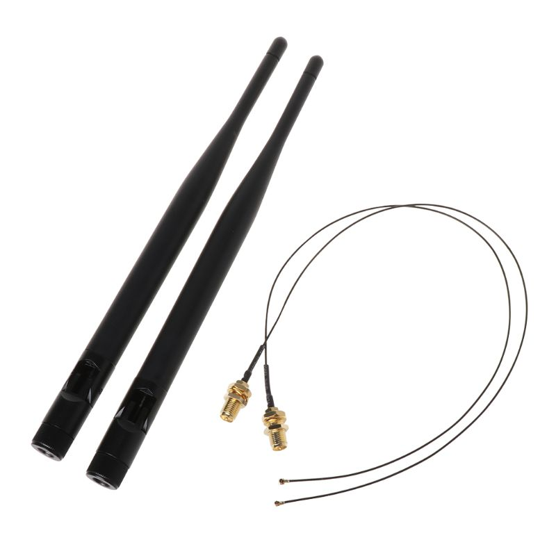 2x 6dBi M.2 IPEX MHF4 U.fl Cable To RP-SMA Wifi Antenna Signal Cable Set For Intel AC 9260 9560 8265 8260 7265 7260NGFF M.2 Card