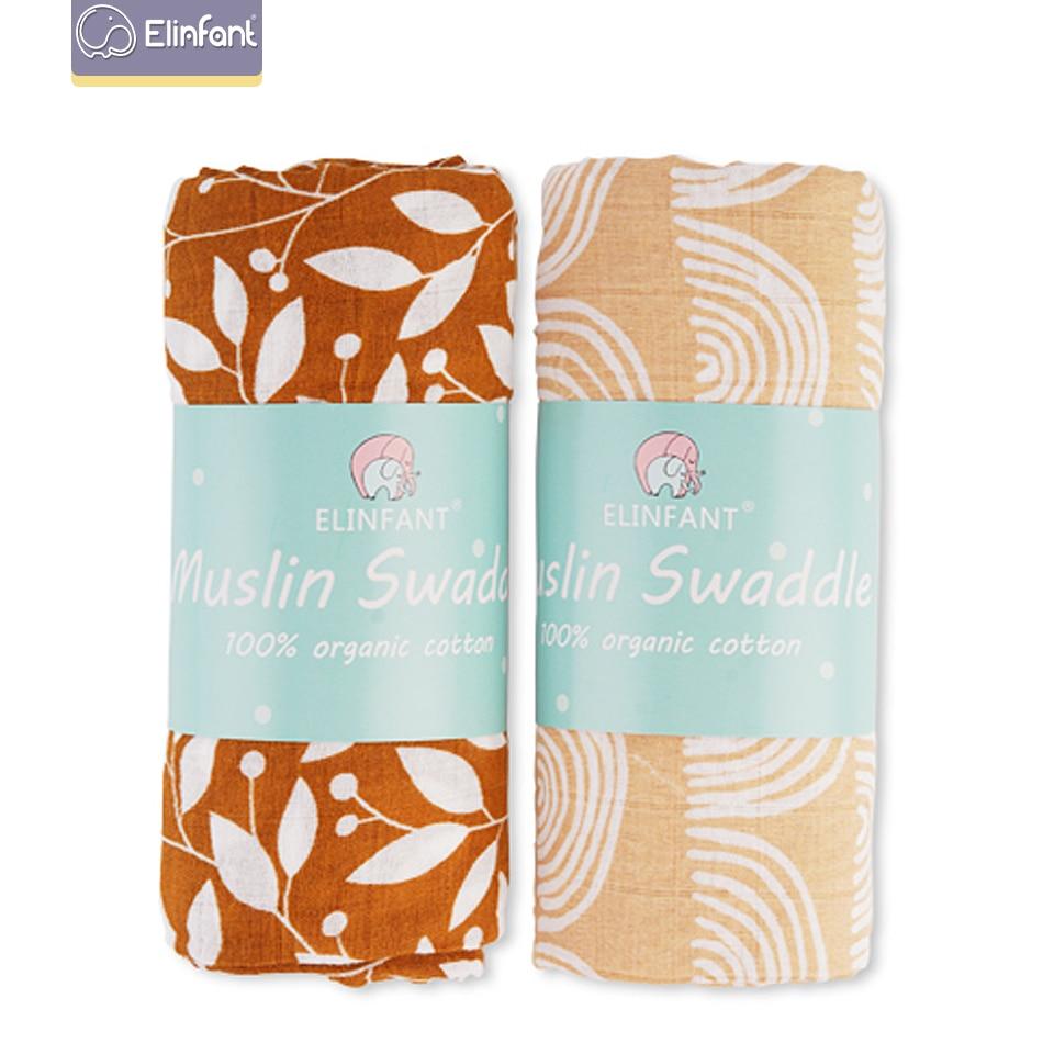 Elinfant 2pcs Muslin Cotton Swaddles Washable Baby Blankets For Newborn Baby Blankets Black & White Gauze Bath Towel