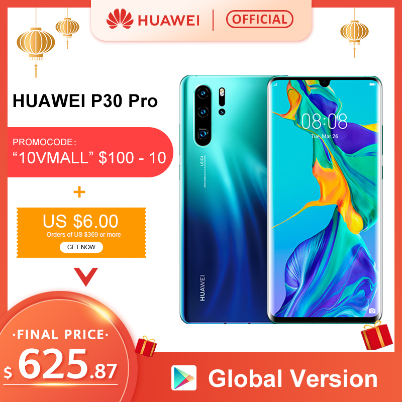 Global Version Huawei P30 Pro 8GB 256GB Kirin 980 Octa Core Smartphone Quad Camera 6.47'' Full Screen NFC