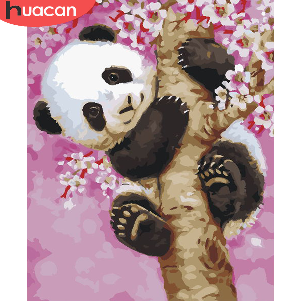 HUACAN Coloring By Number Panda Animals Kits Drawing Canvas DIY Pictures Oil Painting Hand Painted Gift Home Decor