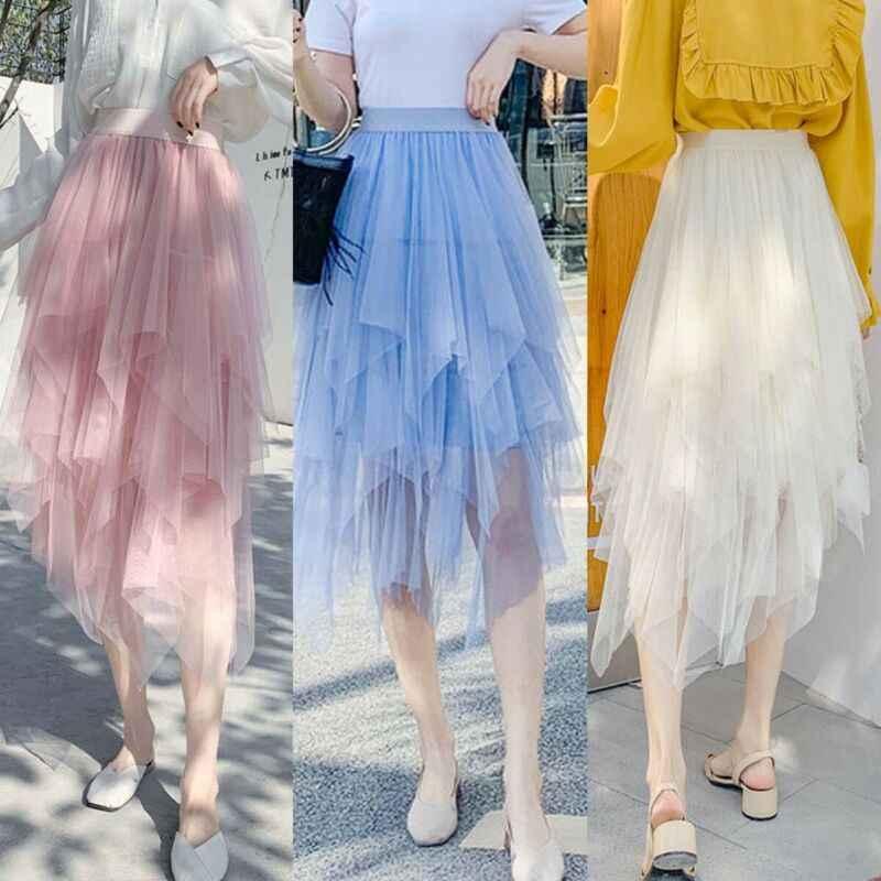 מכירה לוהטת סדיר טול חצאית נשים קיץ מקרית המפלגה מועדון ללבוש תחתונית כדור שמלת חצאית 2019 חדש