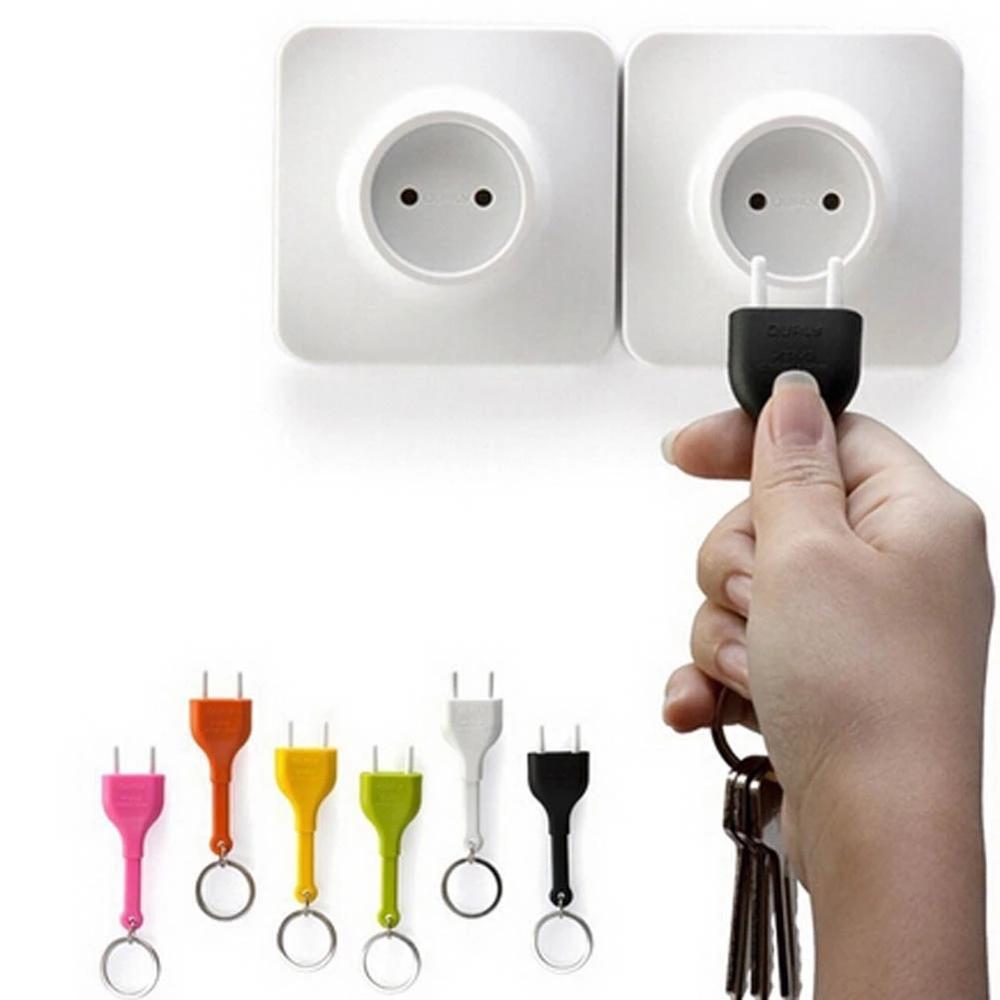 1pcs Unplug Power Plug Environmental Protection Idea Key Ring Key Chain Rack Key Hook  Anti-lost Insulated Key Plug Random Color