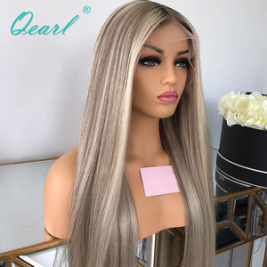 Image 4 - Human Hair Full Lace Wig Grey Ashy Blonde Highlights Color Straight Lace Wigs Remy Hair 130% 150% Pre plucked Hairline Qearl