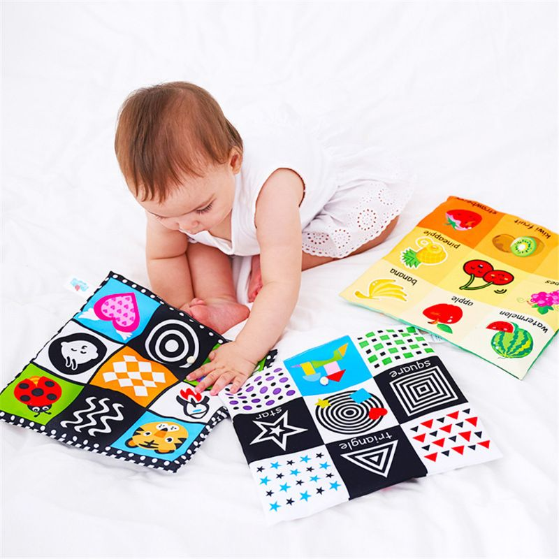 9 Grid Soft Sound Cloth Books Baby Toys Infant Educational Stroller Rattle Toy Newborn Crib Bed Baby Toys 0-36 Months