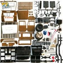 Wpl kit de metal desmontado, c44km 1:16, com motor, servo 4wd, escalada, fora de estrada, acessórios para caminhão rc, atualização modificada diy brinquedo de menino