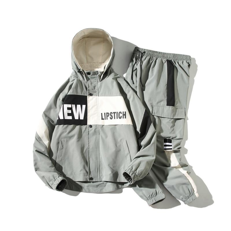 Chándal reflectante de moda para hombre, conjunto de 2 piezas con capucha, ropa de calle, trajes para corredores de talla grande S 5XL, otoño 2020|Conjuntos para hombres| - AliExpress