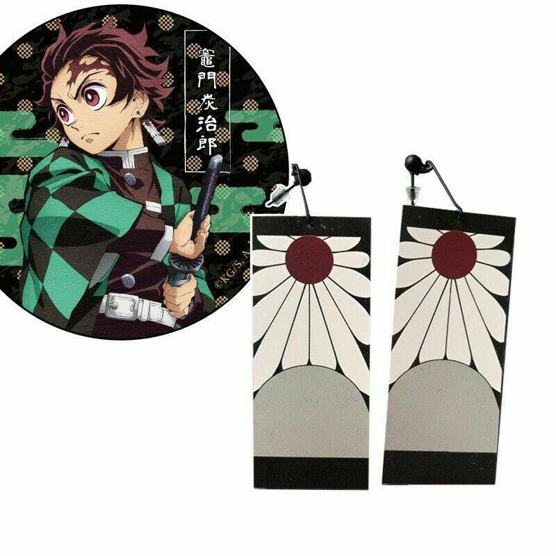 1 Pair Earrings Japanese Anime Demon Slayer Wholesale Cosplay Prop Kimetsu No Yaiba Tanjirou Kamado Cosplay Accessores