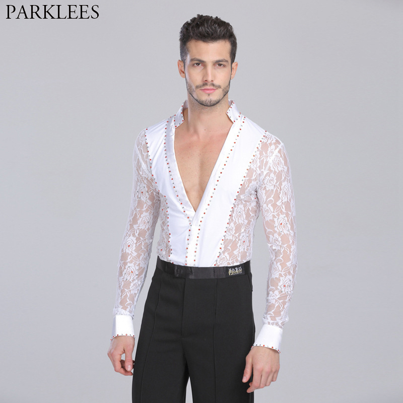 Men's Professional Latin Lace Shirts Deep V Neck Tuxedo Leotard Shirt Male Long Sleeve Salsa Samba Chacha Modern Dance Chemise