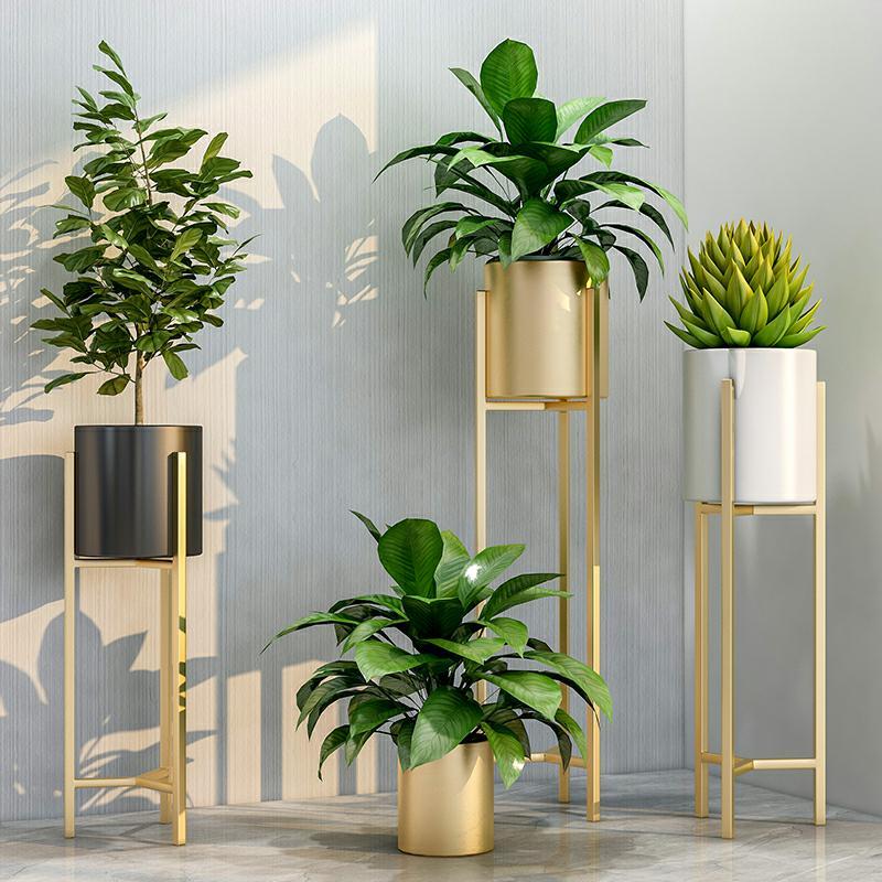 Nordic Modern Iron Art Net Red Flower Stand Balcony Indoor Flower Stand Simple Floor-standing Green Plant Flower Pot Stand
