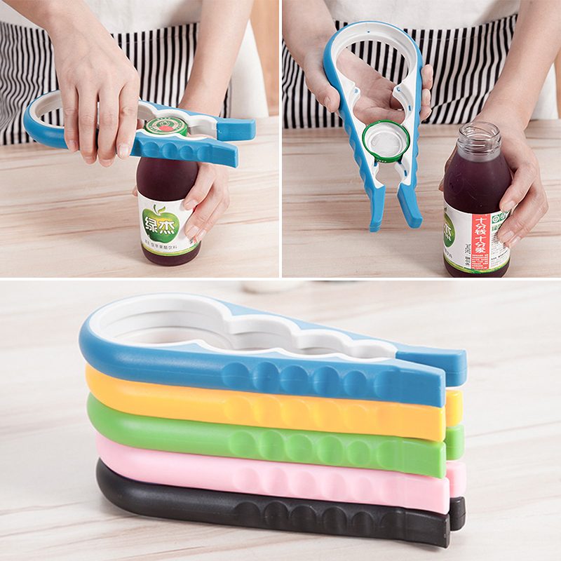 Portable 4 In 1 Container Bottle Opener Anti-slip Handle Manual Kitchen Cooking Tool Strength-saving Can Lid Open 4 Colors