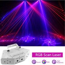 6 눈 레이저 스캔 조명 DMX512 RGB 풀 컬러 레이저 빛 선형 + 이미지 효과 무대 조명 6 렌즈 스캐너 레이저 DJ 장비