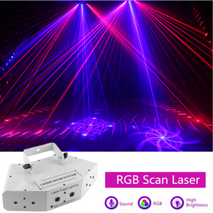 Image 1 - 6 oczy laserowe skanowanie światła DMX512 RGB pełny kolor światło laserowe liniowe + efekt obrazu oświetlenie sceniczne 6 obiektyw skaner laserowy sprzęt DJ