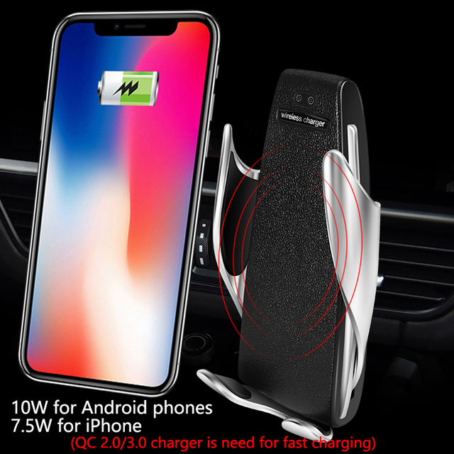 Wireless Car Charger for iPhone Samsung Huawei Smart Auto Clamp 10W Qi Fast Charging Car Mount Wireless Phone Charger Holder 10W 2