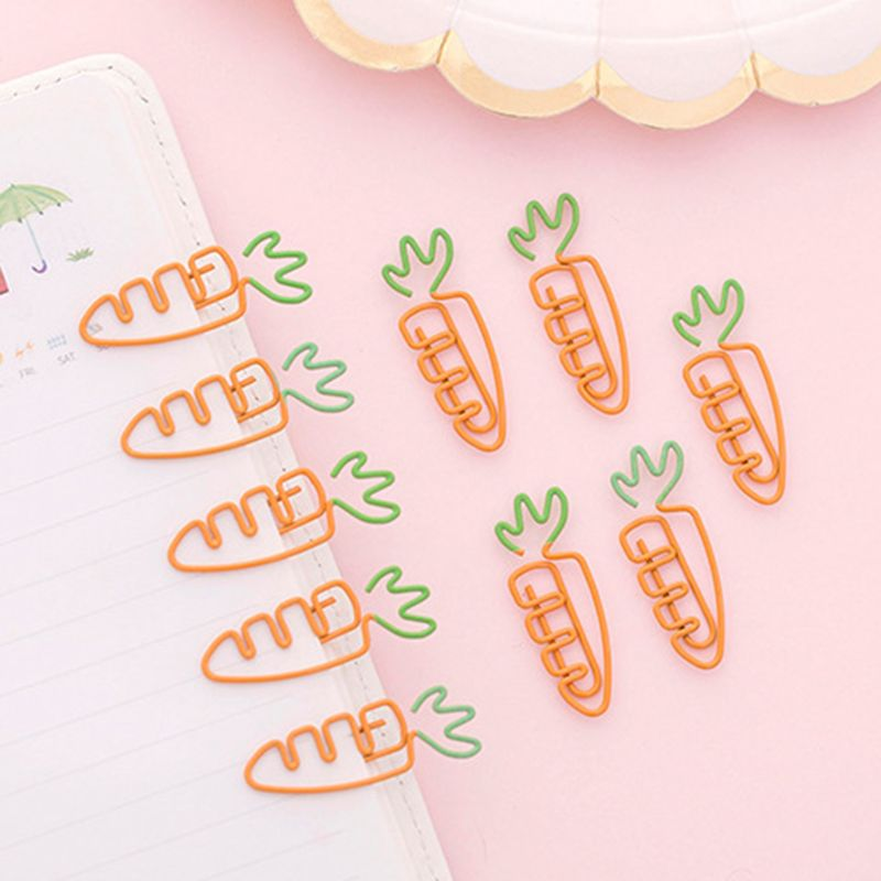 6pcs Creative Kawaii Carrot Shaped Metal Paper Clip Pin Bookmark Stationery School Office Supplies Decoration