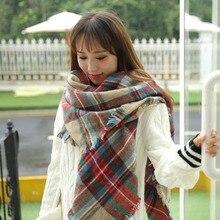Осень и зима стиль клетчатая шаль искусственный кашемир европейские и американские улочки теплый женский плед шарф платок мануф