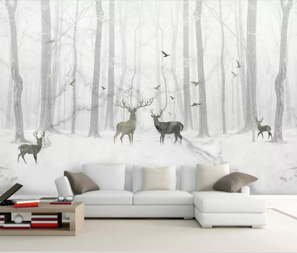 3D Marble Wallpaper Nordic ELK Deer Forest Wall Mural For Sofa TV Background Wall Paper Rolls Custom 3d Photo Wallpaper Nature