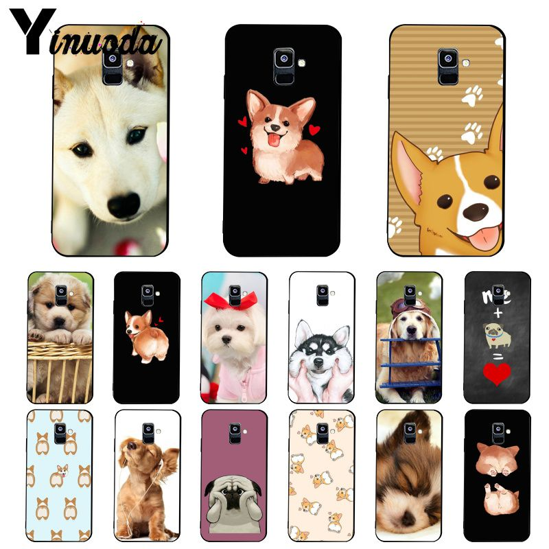 Yinuoda Super Cute Corgi <font><b>Sexy</b></font> Cartoon Dog Ass Phone <font><b>Case</b></font> For Samsung Galaxy A7 A50 A70 A40 A20 A30 A8 A6 A8 Plus A9 2018 image