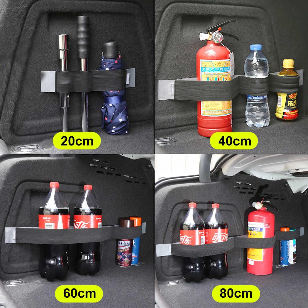 Práctico maletero de coche almacenamiento fijo estirado cinta adhesiva suministros cinturón organizador de maletero accesorios interiores de automóvil azul negro