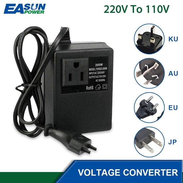 מתח צעד למטה שנאי 200W 220V כדי 110V צעד למטה נסיעות תמיכה האיחוד האירופי Plug מתח שנאי ממיר