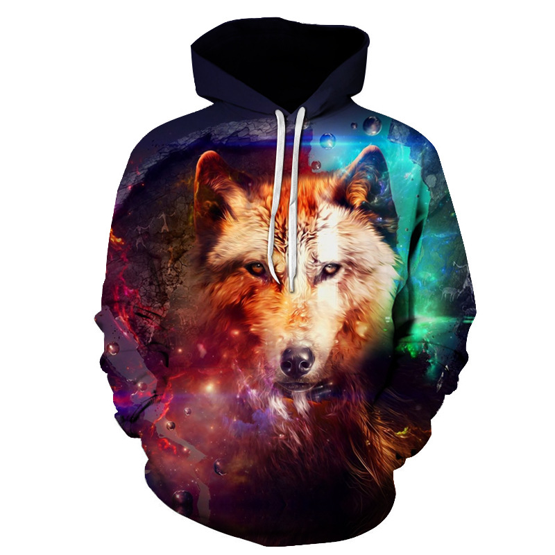 Casual Galaxy Wolf Printed 3D Sweatshirt <font><b>Hoodies</b